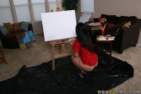 Latina babe Luscious Lopez plays artsy games and has wild anal sex