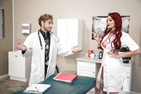 Freckled redheaded nurse Skyla Novea fucking staff member on exam table