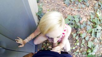 Close up outdoor ass fuck of a blonde teen Miley May and her man