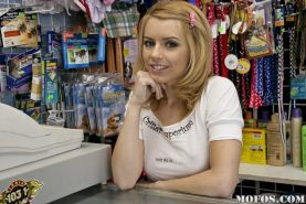 Teen cutie Lexi Belle shows her juicy butt and nice titties at work