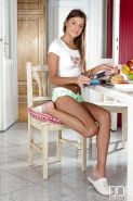 Wonderful teen Melena Maria is masturbating in her kitchen on a chair
