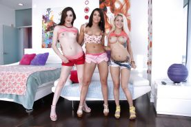 Young lesbians Adriana Chechik, Kasey Warner and Marsha May posing topless