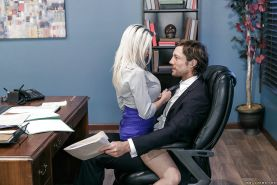 MILFs Rachel RoXXX and Skyla Novea expose big boobs during office threesome