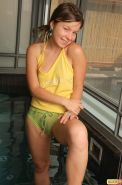 Emily 18 jumps in the pool in her panties and they get soaked and see through an