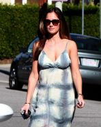 Minka Kelly busty  braless wearing summer dress in Beverly Hills