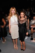 Alyssa Milano braless showing huge see-through cleavage at Spring 2014 Fashion S