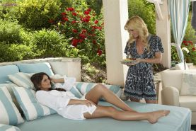 Angela Sommers and Aspen Rae lick pussy in the garden