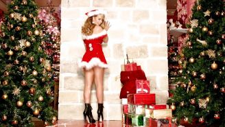 Mariah Carey looking very sexy and leggy in christmas outfit