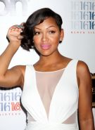 Meagan Good braless wearing a sexy white dress at Pussycat Dolls Burlesque Saloo