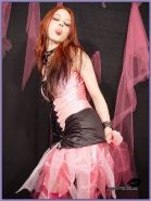 Devilish Disheviled Goth Gal in Torn Pink Stockings Fetish