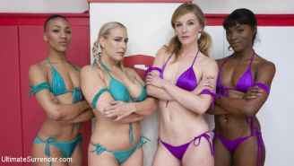 4 sexy wrestlers fight in 100% competitive erotic wrestling tag match: These gir