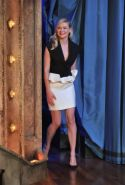 Kirsten Dunst upskirt and showing big cleavage at Late Night with Jimmy Fallon