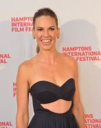 Hilary Swank busty in a revealing strapless dress at The Homesman premiere in Ea