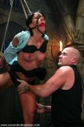 Julie Night in tight rope bondage and fucked in every hole