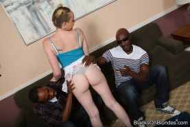 Caroline Cross in interracial threesome sex action