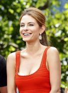 Maria Menounos showing huge cleavage on the set of Extra at The Grove in LA