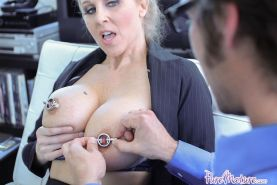 Busty nympho boss Julia Ann fucked hard at work