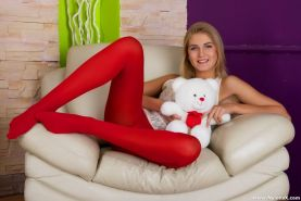 Blonde teen in red pantyhose in anal hardcore fuck