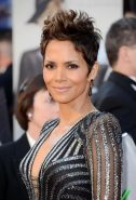 Busty Halle Berry showing cleavage at the 85th Oscars and Vanity Fair Oscar Part