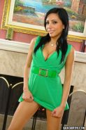 Gorgeous Lela Star strips off slinky green dress