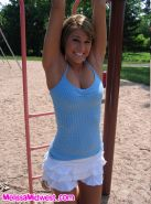 Melissa Midwest naked playing at the playground