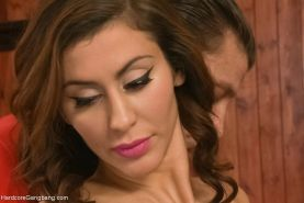 Big tittied brunette submits to DVP, DAP and triple penetration!