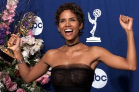 Halle Berry showing her nice big tits and ass in thong in see thru dress