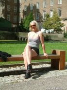 Blonde english babe in public nudity and wild outdoor flashing