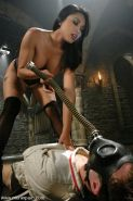 Asian Mistress Mika Tan with bound spanked slave is handjobed