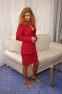 German mature redhead lady Claire strips her stockings