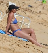 Britney Spears booty wearing skimpy blue bikini at the beach in Hawaii