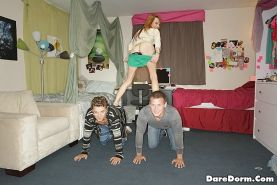Funny teen threesome in college dorm room