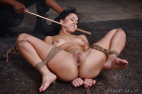 Mia Austin petite in rope bound is toyed and forced to blowjob black cock