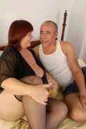 Fat mature redhead Josie Juggsy sucking and getting screwed