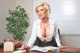 beautiful blonde with big tits sucks cock and fucks in an office