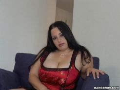 Dark haired plumper getting titty fucked
