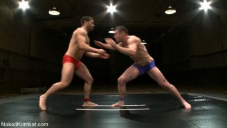 Dominate gay stud pins his inferior opponent