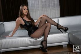 Kendra Star big tits mistress in leather and heels takes his cock for cum