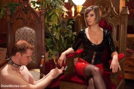 Maitresse Madeline and gf femdom humiliate bound slaves with cbt