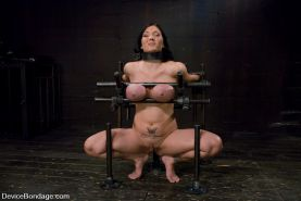 Busty slave slut Claire Dames gets rough tits bondage