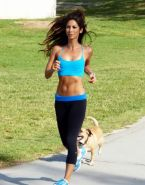 Leilani Dowding in sports bra  tights working out at the Pan Pacific Park in Wes