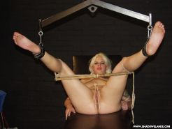 Bound feet punished and foot fetish hotwax punishment of restrained blonde amate