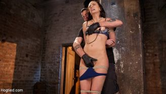Bianca Breeze milf is rope bound with nipples clamped in dungeon