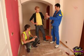 Blond gay twink initiated into the ranks of the construction guys