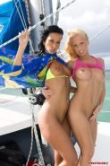 Diana Gold and Simonne Style enjoy an FFM anal threesome on the boat