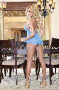 Nicole Graves sexily strips off her amazing light blue lingerie