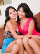 Asian post-op Lesbians Mo and Honey play with tongues and sex toys