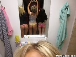 Sexy hot college dorm room babes in tight undies make out and get fucked in this
