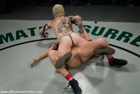 Hot Latino beat down by blond dyke. Real Wrestling