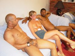 Mature blonde gangbanged by four big black cocks
